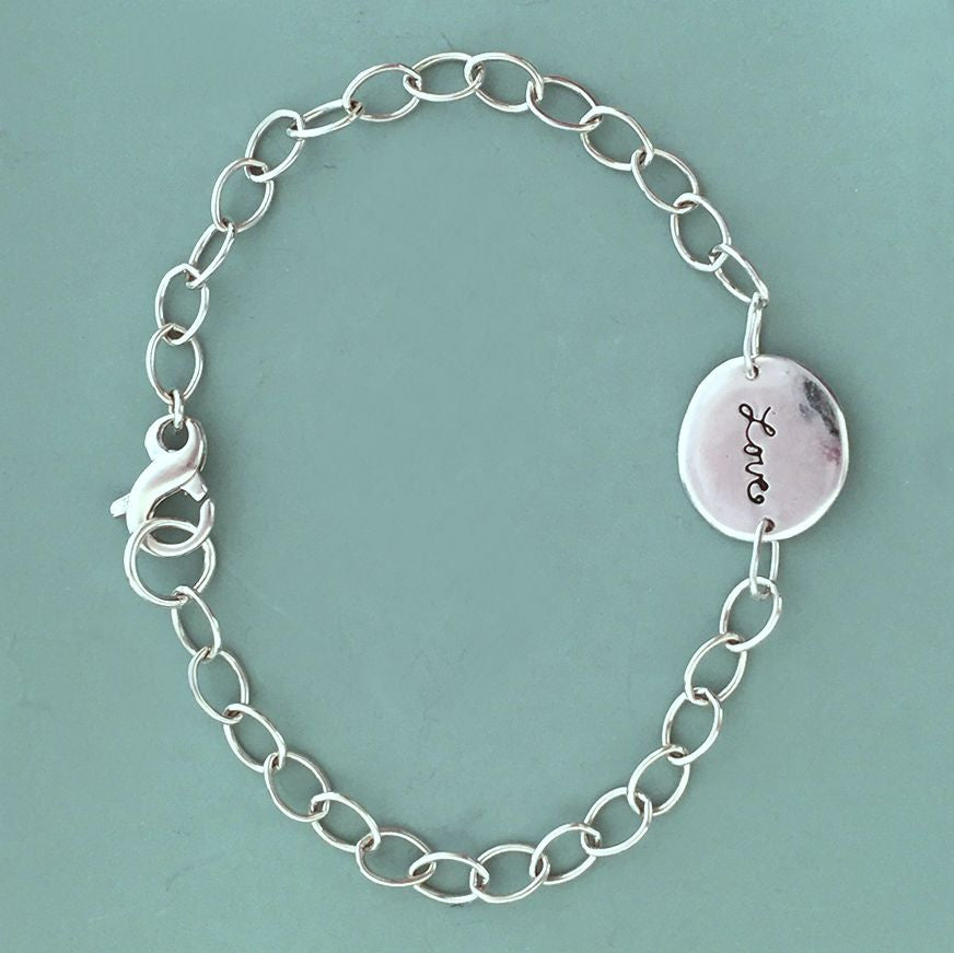 Initial or Mother's Bracelet - Sterling Silver Chain Bracelet with Custom Letter Charm