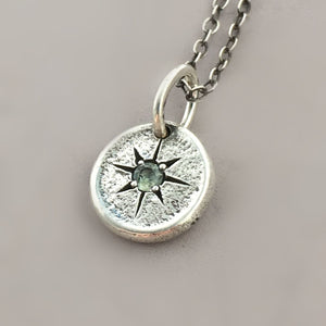 Star Set Montana Sapphire Necklace in Sterling Silver