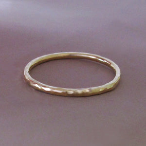 Round Hand Hammered Stacking Ring in 14k Rose or Yellow Gold