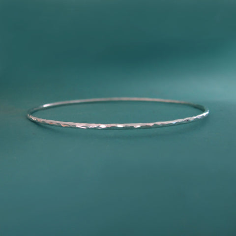 One Sterling Silver Bangle - Hammered