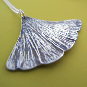 Sterling Silver Ginkgo Leaf Necklace