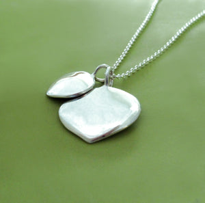 Mother and Child Aspen Leaf Necklace - Sterling Silver