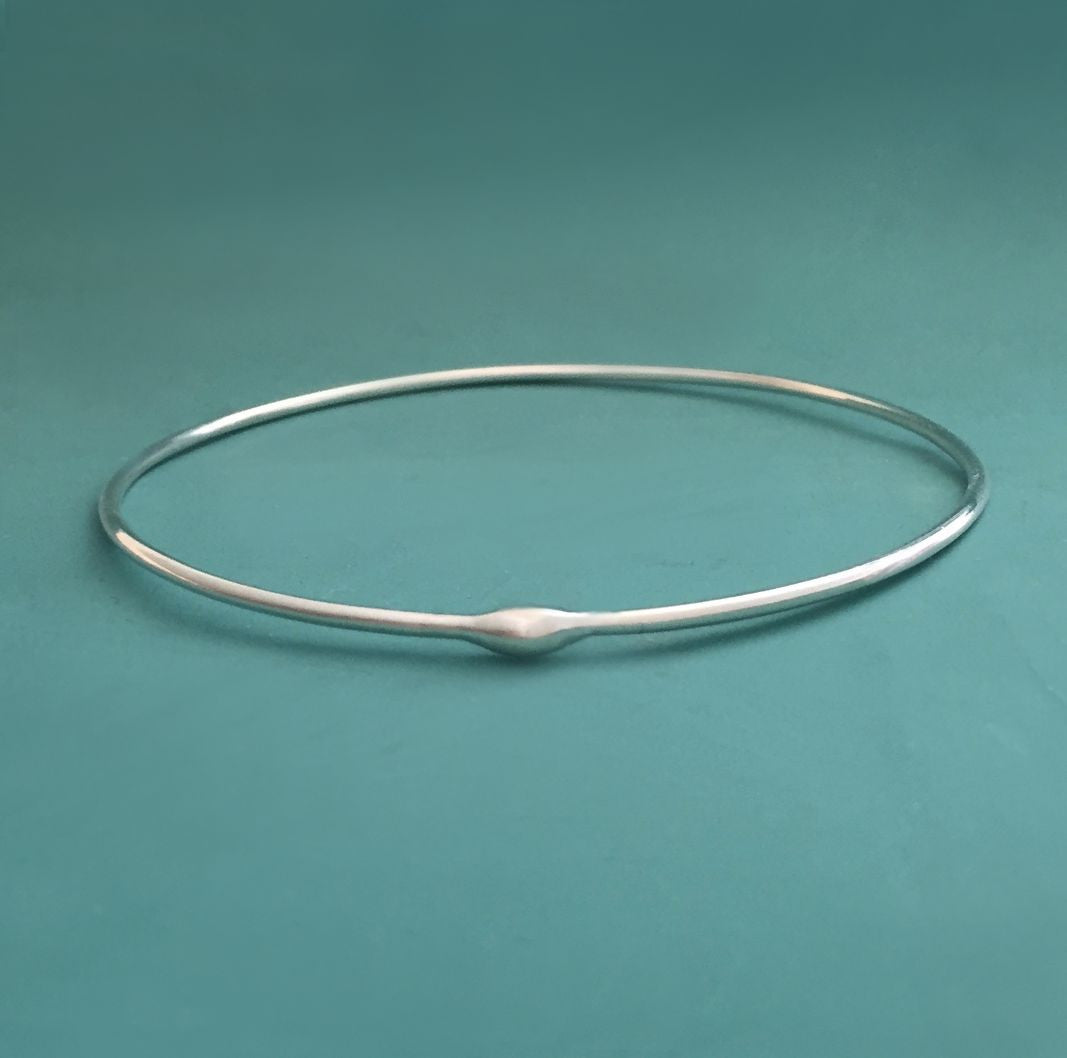 One Sterling Silver Bangle - Rain