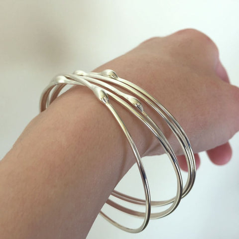 Sterling Silver Bangle Set of Five - Rain