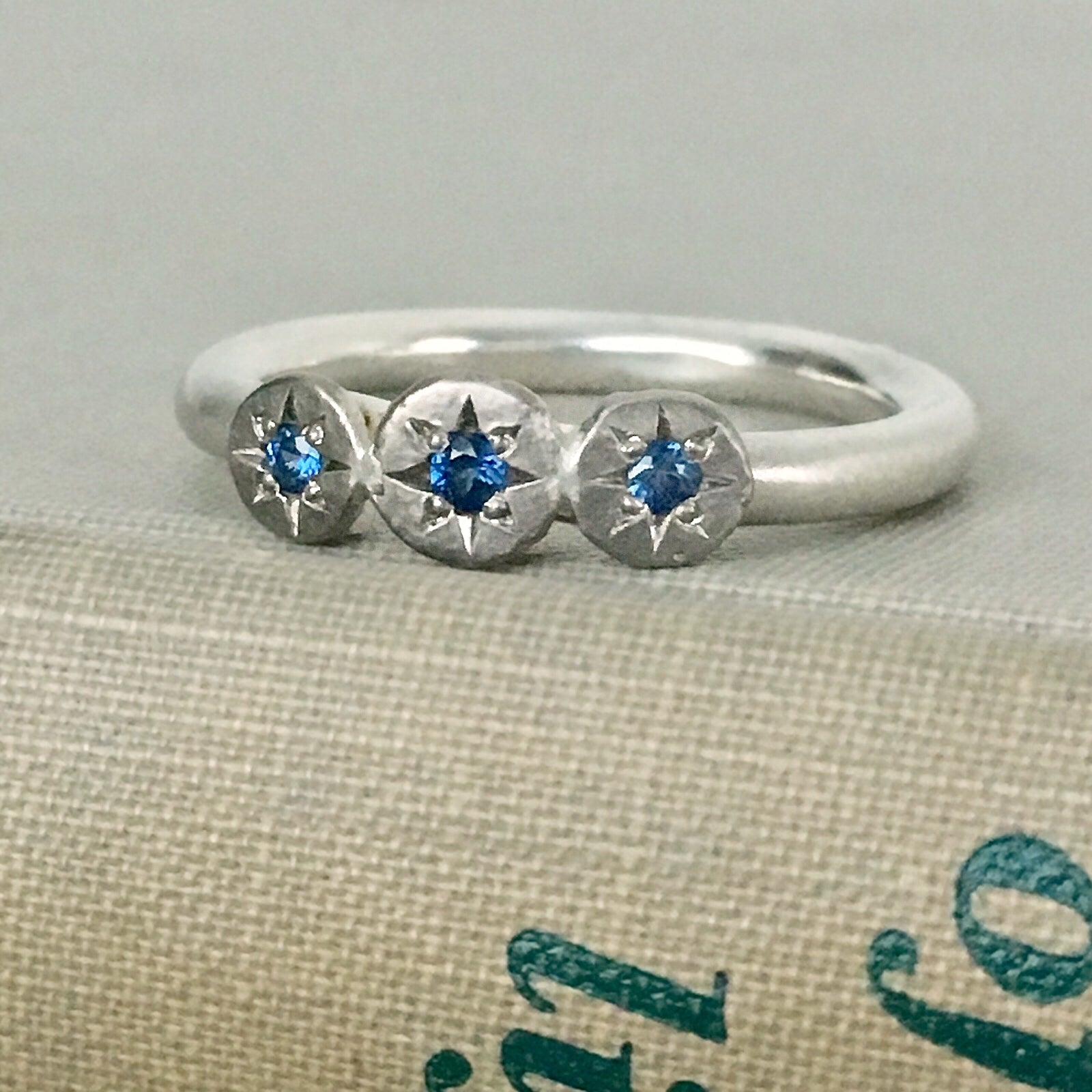 eaa73be0e Three Stone Sapphire Star Ring in Sterling Silver and 14k Palladium White  Gold