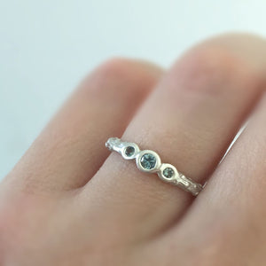 Three Stone Pine Twig Ring with Montana Sapphires in Sterling Silver or 14k Gold