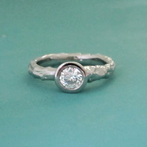 Twig Engagement Ring with Moissanite - Palladium 950