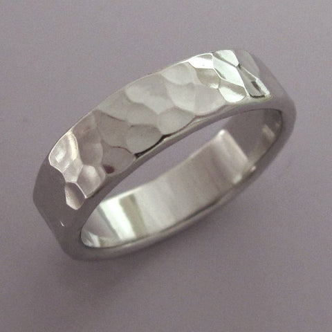 Palladium 950 Hand Hammered Wedding Bands