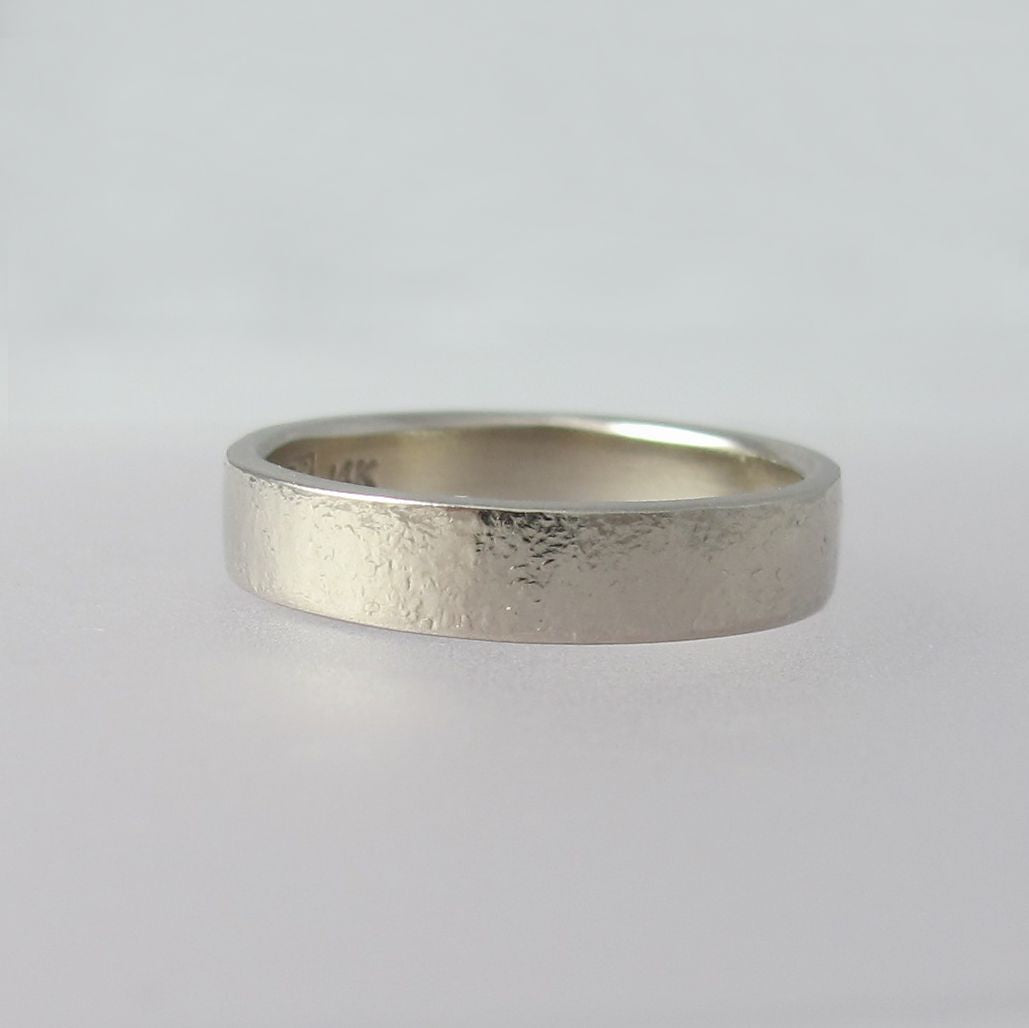 Pebble Wedding Band in 14k Palladium White Gold, Modern Stone Textured Wedding Ring, Choose a Width and Finish, Free Engraving