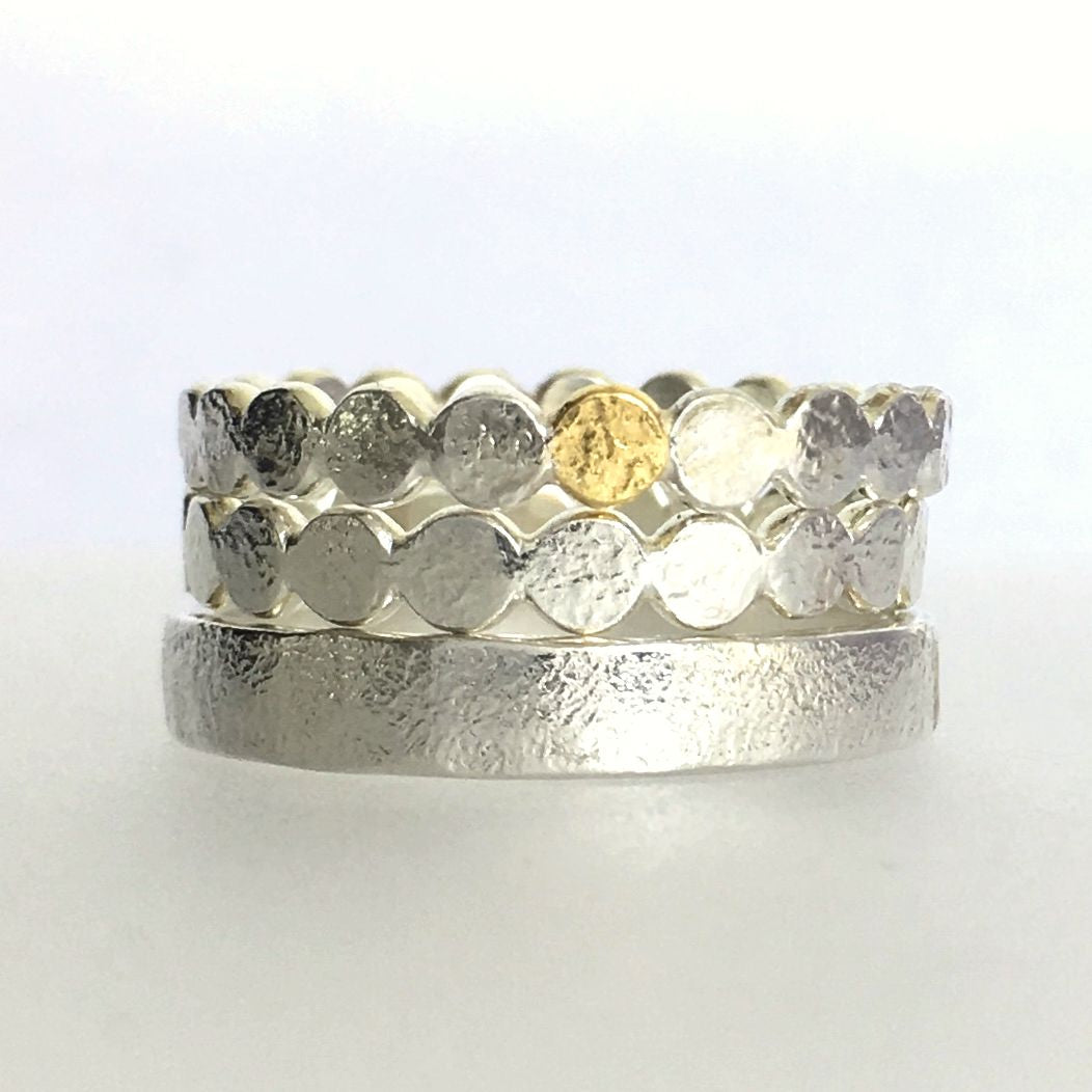 Custom Pebble Ring or Ring Set Wedding Bands or Stacking Rings Sterling Silver and 22k Gold Free Engraving