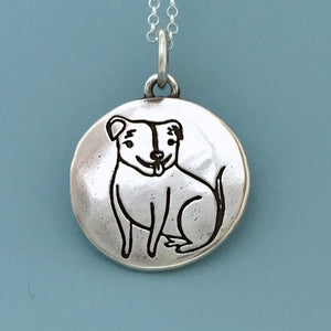 The Happy Rescued Pit Bull Necklace in Sterling Silver - Custom Stamped with Dog's Name and Date
