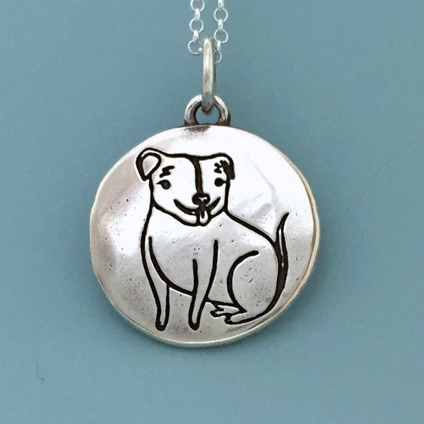 pitbull jewelry the happy rescued pit bull necklace in sterling silver 3873