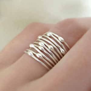 Sterling Silver Stacking Ring Set of Ten - Rain