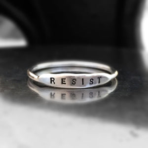 Hand Stamped Sterling Silver Stacking Ring - RESIST