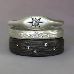 Wedding Ring with Diamonds or Moissanites, Ripple Design, Recycled Sterling Silver or 14k Gold