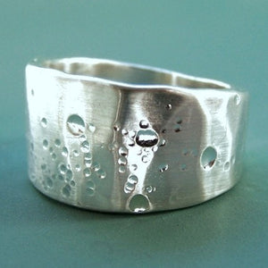Wide Tapered Shoreline Ring in Sterling Silver