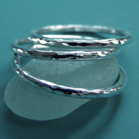 Sterling Silver Stacking Ring Set - Hand Hammered - Set of Three