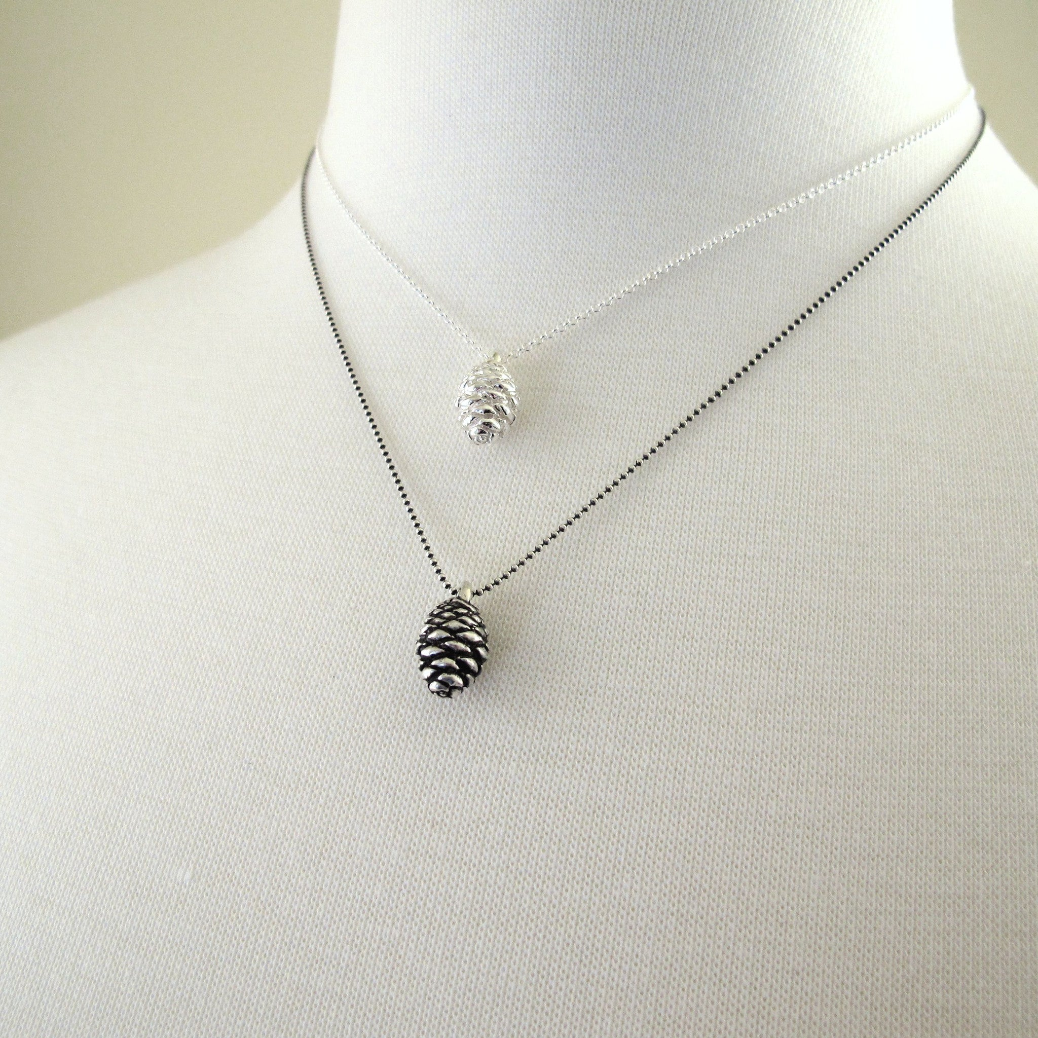 Sterling Silver Pine Cone Necklace - Small Fir
