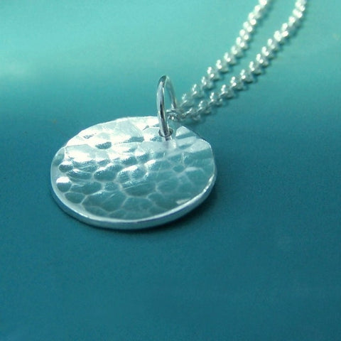 Small Pool Necklace in Hand Hammered Sterling Silver