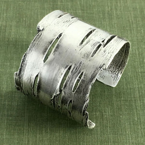 Birch Bark Cuff Bracelet in Sterling Silver
