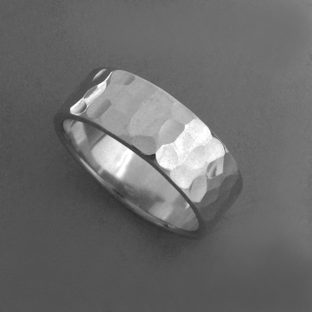 Sterling Silver Hand Hammered Wedding Ring in Recycled Sterling Silver - Various Widths, Polished or Matte