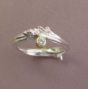 Oak Twig Moissanite Engagement Ring - Sterling Silver and 18k Gold