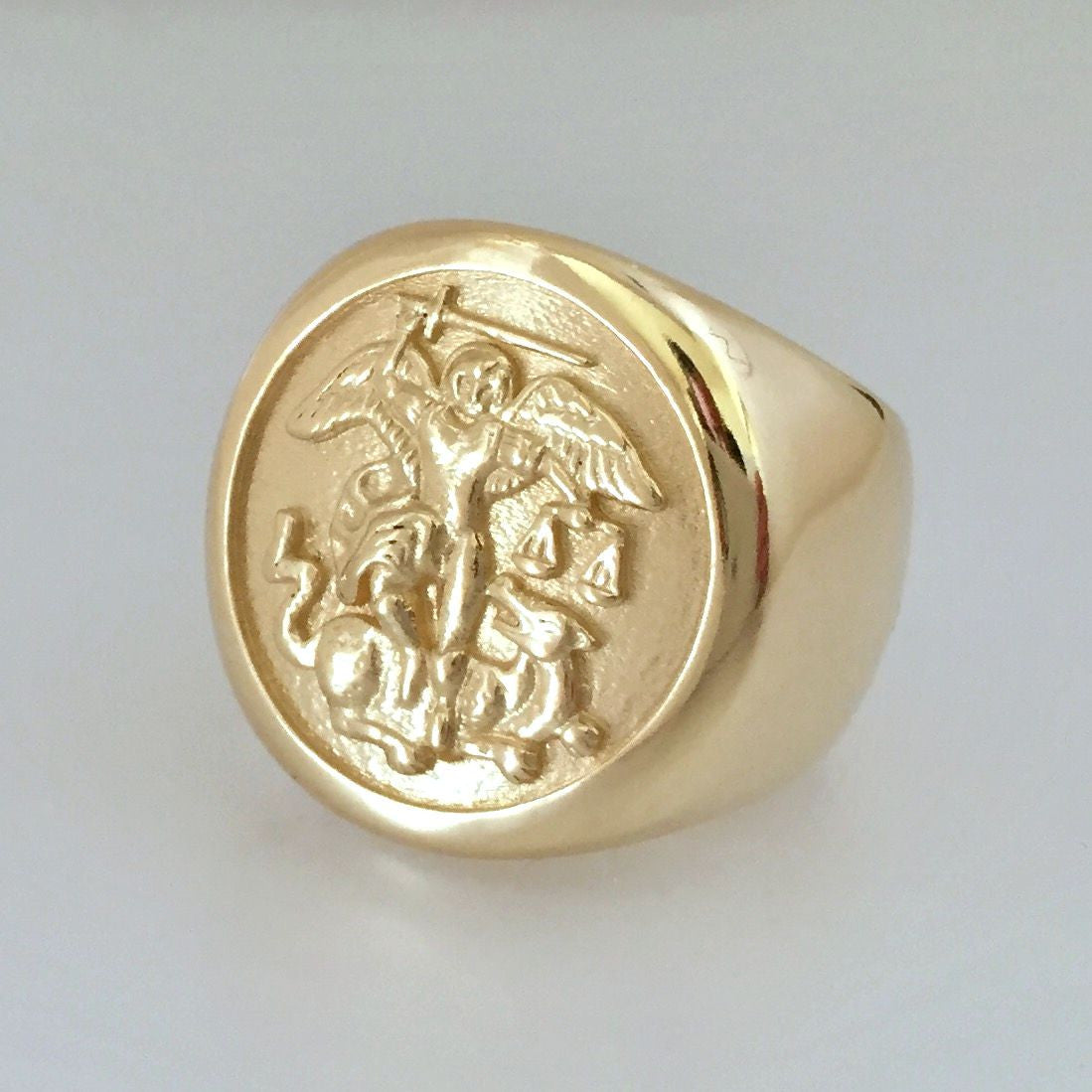 Custom Order - 14k Yellow Gold St. Michael Signet Ring - Final Payment