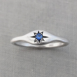 Blue Sapphire Star Signet Ring in Solid 14k Gold or Sterling Silver