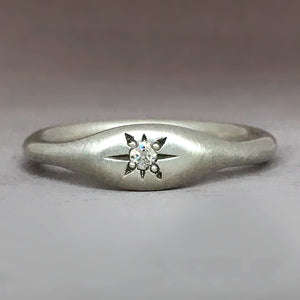 Star Signet Ring in Choice of Solid 14k Gold or Sterling Silver, Moissanite or Canadian Diamond
