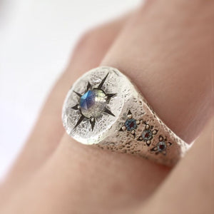 Labradorite Star Signet Ring in Sterling Silver with Aquamarine