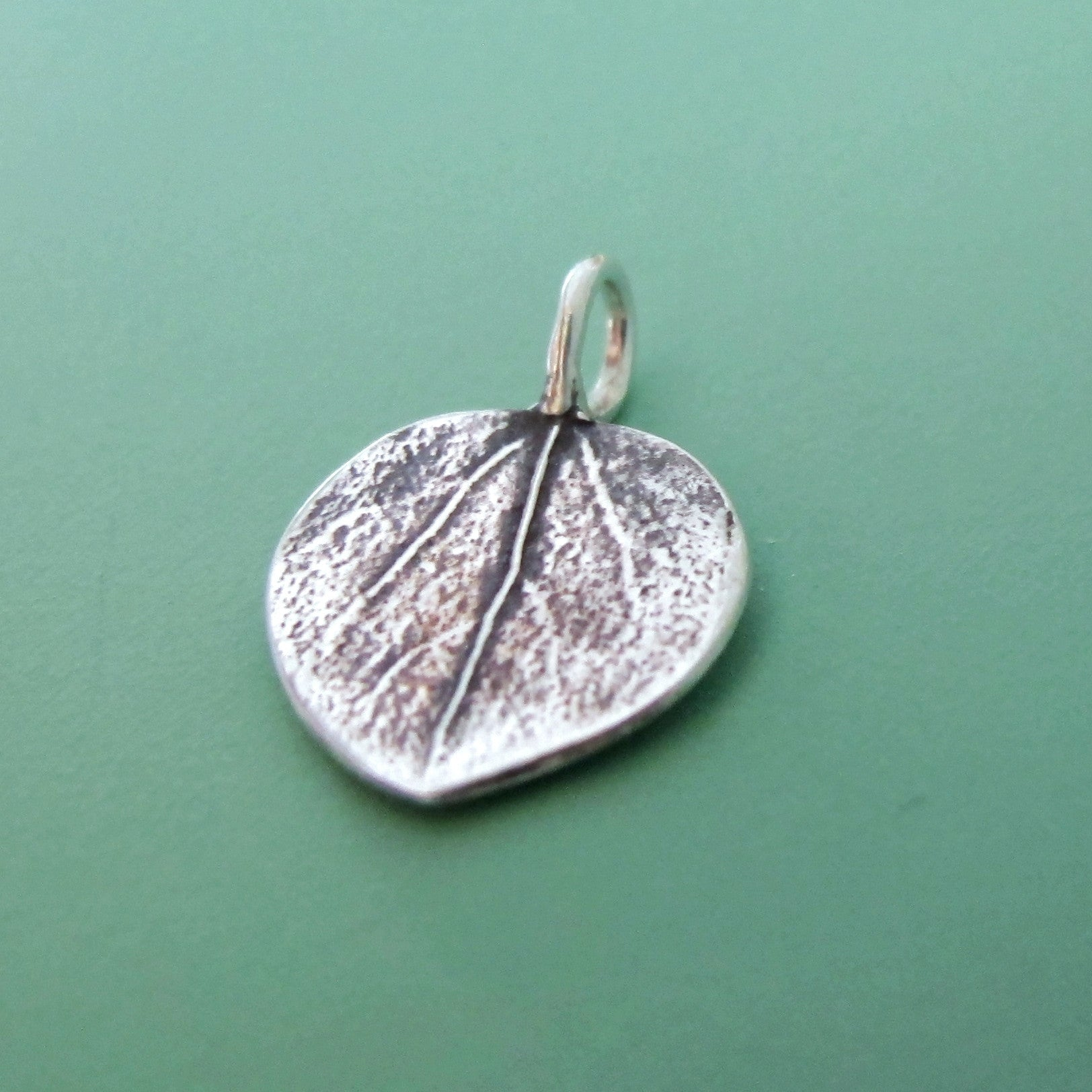 Sterling Silver Leaf Charm - Tiny Aspen
