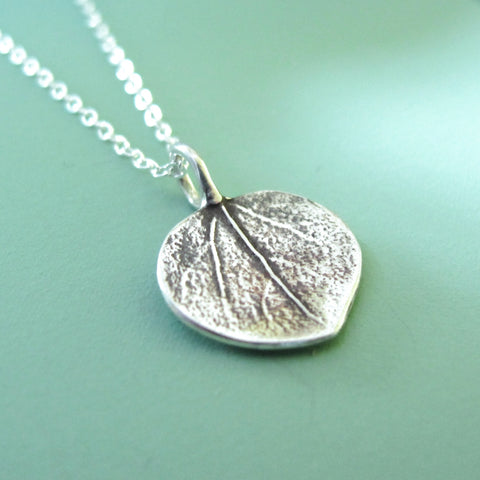 Sterling Silver Leaf Necklace - Tiny Aspen