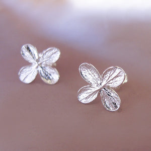 Sterling Silver Flower Post Earrings - Hydrangea