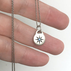 Little Blue Sapphire Star Necklace in Sterling Silver