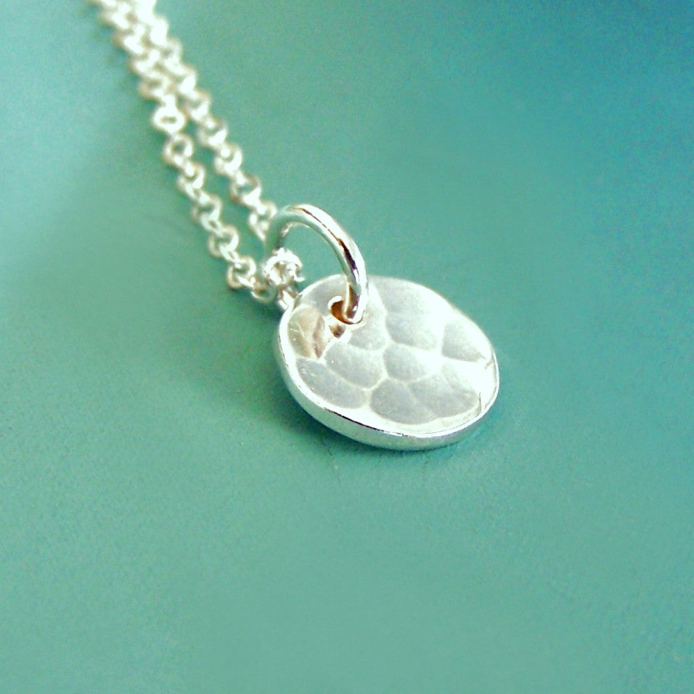 Sterling Silver Necklace - Tiny Hand Hammered Pool