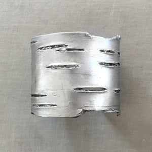 Birch Bark Cuff Bracelet in White Brass