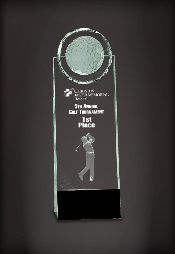 Clear Crystal Golf Upright on Black Base with 3D etched Golfer