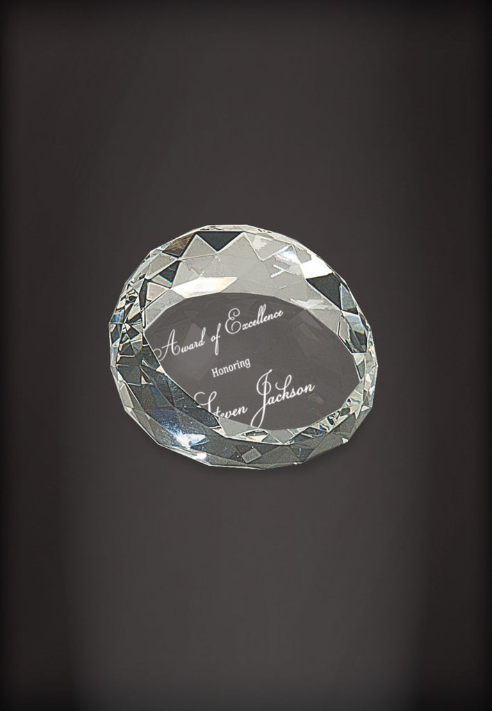 Crystal Faceted Paper Weight