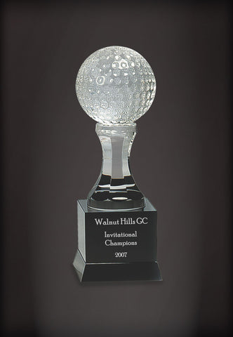 Crystal Golf Ball on Pedestal and Black Base