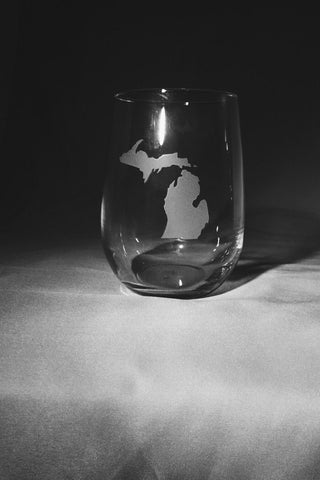 State of Michigan Hand-Etched Stemless Wine Glass (Set of 4)