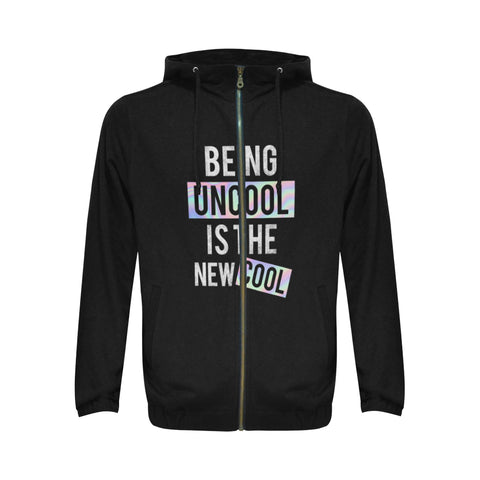 Being Uncool is the New Cool All Over Print Full Zip Hoodie for Men (Model H14)