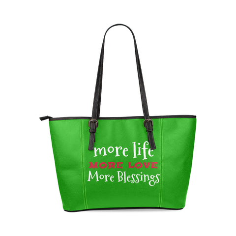Green Leather Tote Bag/Large