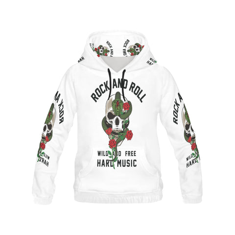 Rock and roll skull, roses and snake All Over Print Hoodie for Men (USA Size) (Model H13)