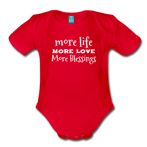 More Blessings Onesie - red