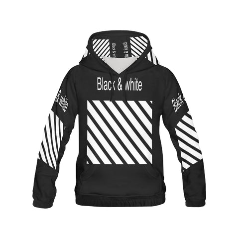 Black & White All Over Print Hoodie for Men (USA Size) (Model H13)