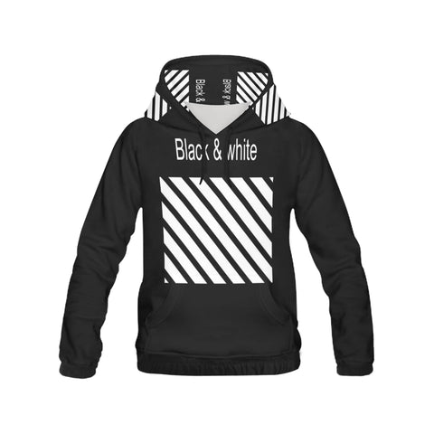 Black & White All Over Print Hoodie for Women (USA Size) (Model H13)