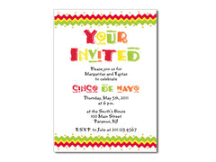 Cinco de Mayo, Margarita and Mexican Party Invitations