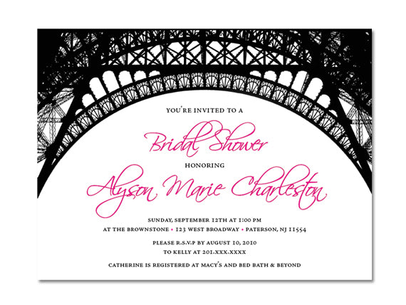 Paris themed bridal shower invitations esquared design parisian themed invitations for wedding bridal or baby shower birthday or any other party filmwisefo