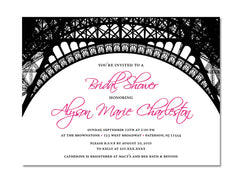 Parisian Themed Invitations for Wedding, Bridal or Baby Shower, Birthday or any other Party