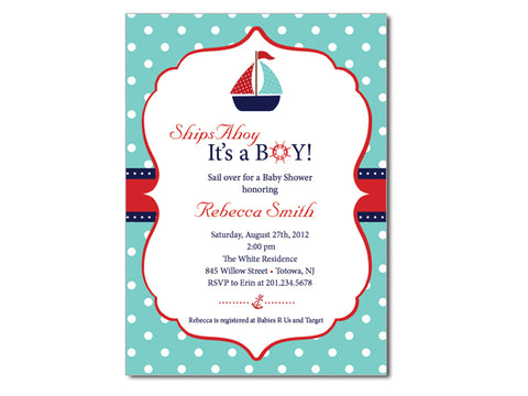 Ship Ahoy It's A Boy Baby Shower Invitations